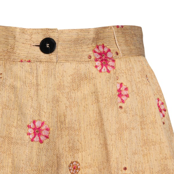 Yellow shorts with flower embroidery                                                                                                                   FORTE FORTE