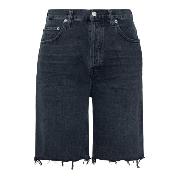 Black fringed denim shorts                                                                                                                            Agolde A9011 back