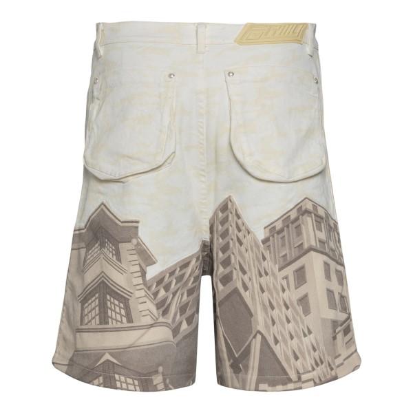 Beige bermuda shorts with architecture print                                                                                                           FORMYSTUDIO