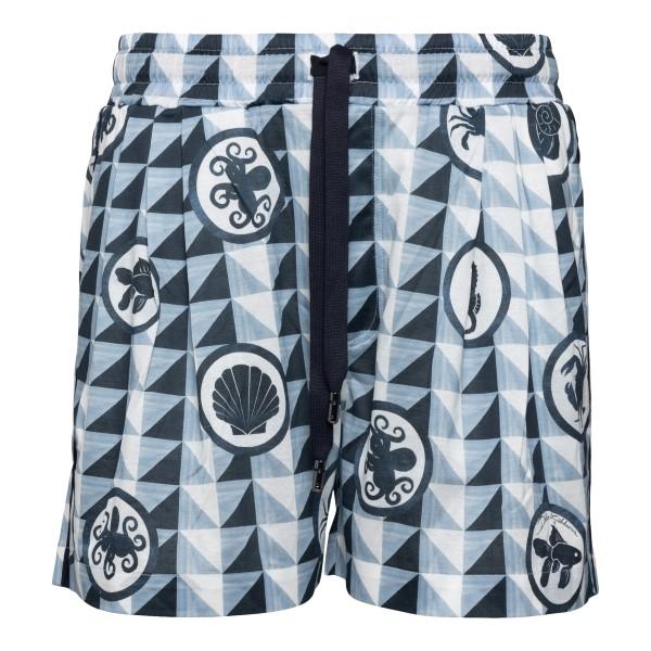 Light blue shorts with geometric pattern                                                                                                              Dolce&gabbana GWOSAT back