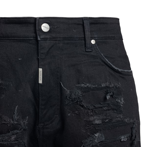 Black denim shorts with rips                                                                                                                           REPRESENT