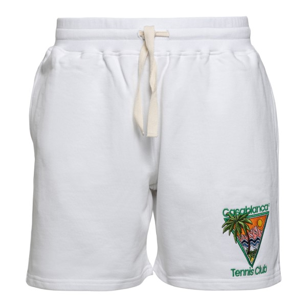 White sports shorts with embroidery                                                                                                                   Casablanca MS21JTR003 back