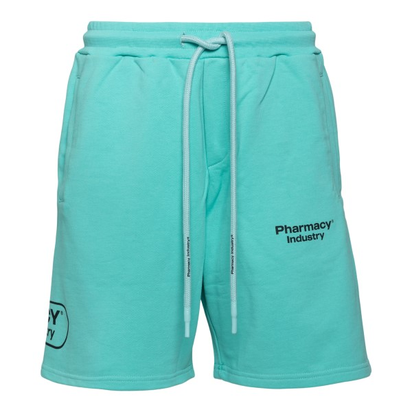 Pantaloncini sportivi azzurri con logo                                                                                                                 PHARMACY                                           PHARMACY