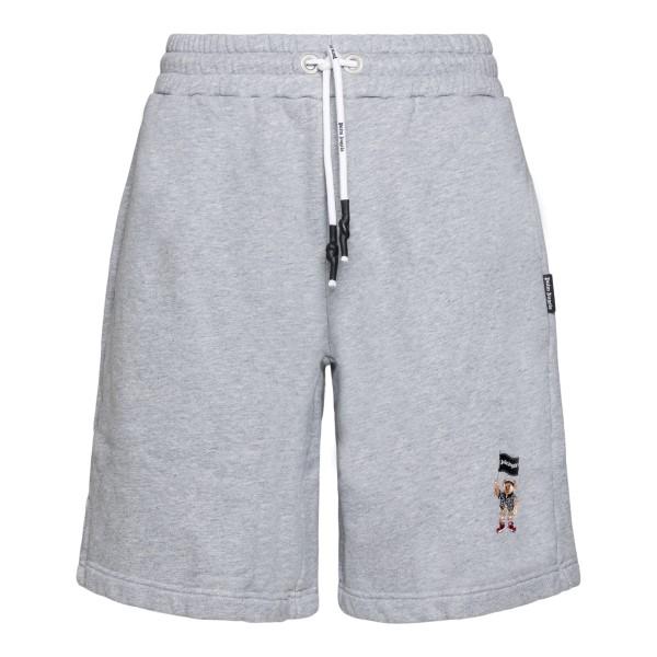 Pantaloncini grigi con ricamo orsetto                                                                                                                 Palm Angels PMCI010S21FLE002 retro