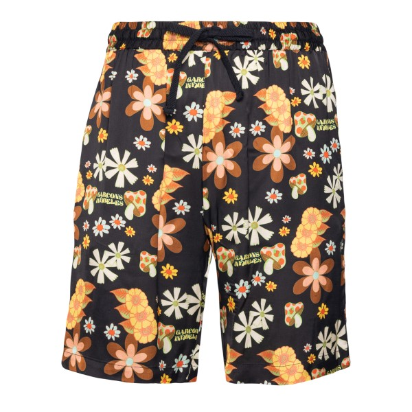 Black floral shorts                                                                                                                                   Garcons Infideles PSYFLOWERSHORT02 back