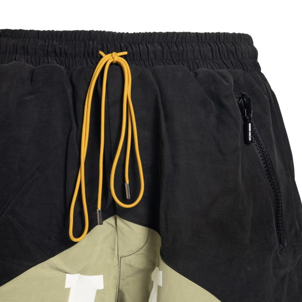 Black and beige bermuda shorts with brand nam                                                                                                          RHUDE
