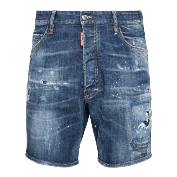 Distressed-effect denim bermuda shorts                                                                                                                Dsquared2 S71MU0629 back