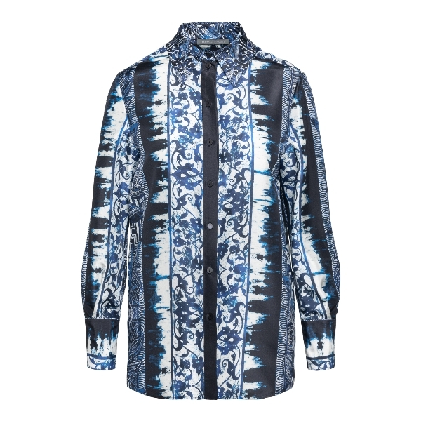 Silk shirt with blue pattern                                                                                                                          Alberta ferretti 0203 front