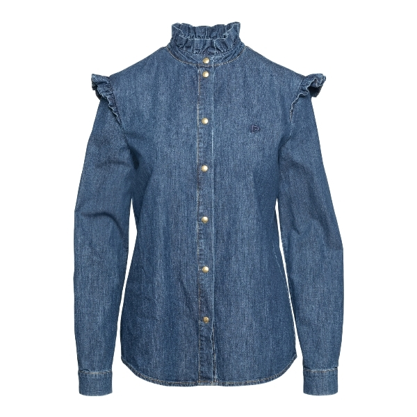 Blue denim shirt with ruffles                                                                                                                         Philosophy 0211 front
