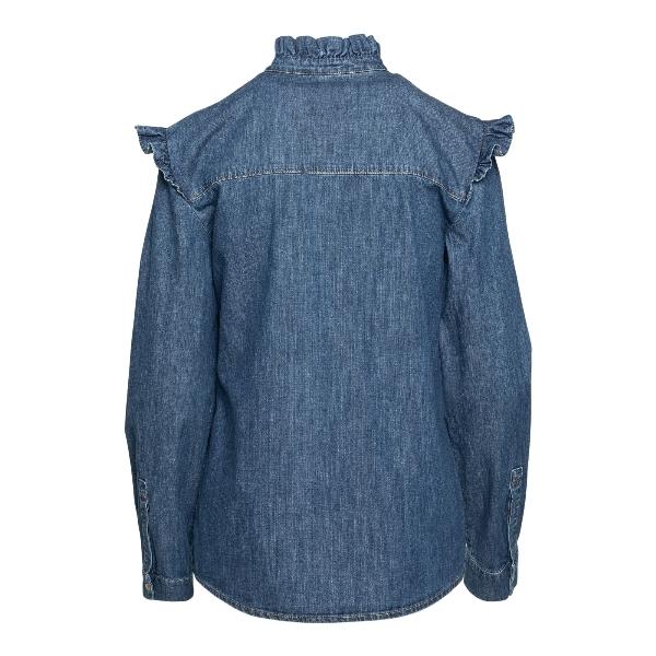 Camicia in denim blu con ruches                                                                                                                        PHILOSOPHY                                         PHILOSOPHY