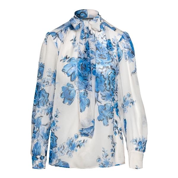 White blouse with floral print                                                                                                                        Alberta ferretti 0212 front