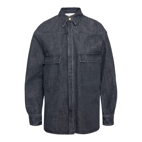 Grey long-sleeved denim shirt                                                                                                                         Alberta ferretti 0220 front