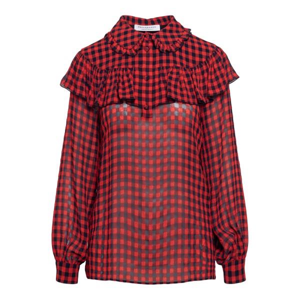 Blusa rossa a quadretti con volant                                                                                                                    Philosophy 0220 fronte