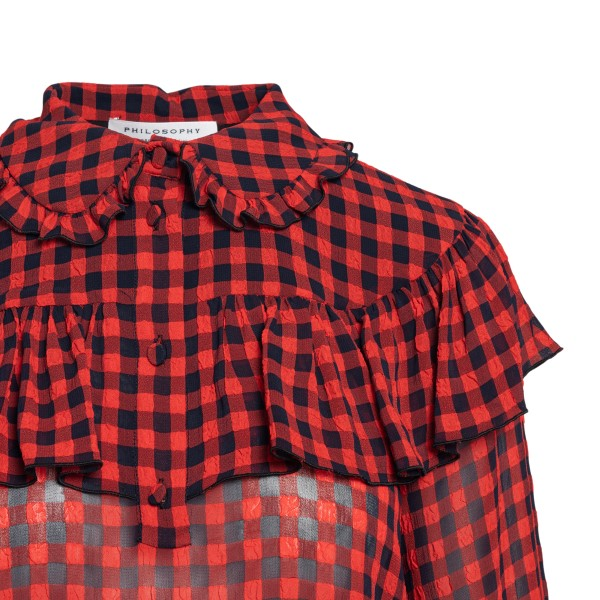 Red checkered blouse with ruffles                                                                                                                      PHILOSOPHY