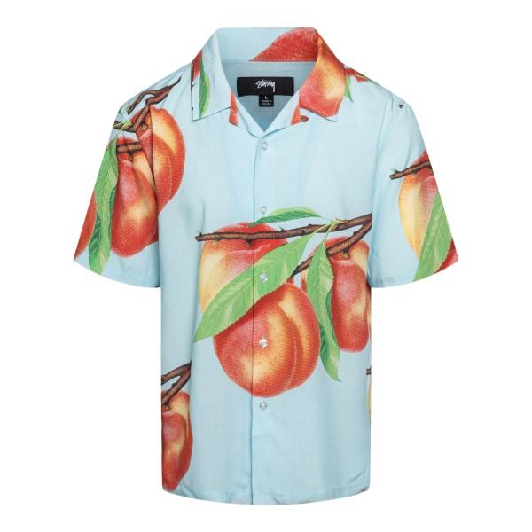 Camicia azzurra con stampa pesche                                                                                                                     Stussy 1110159 retro