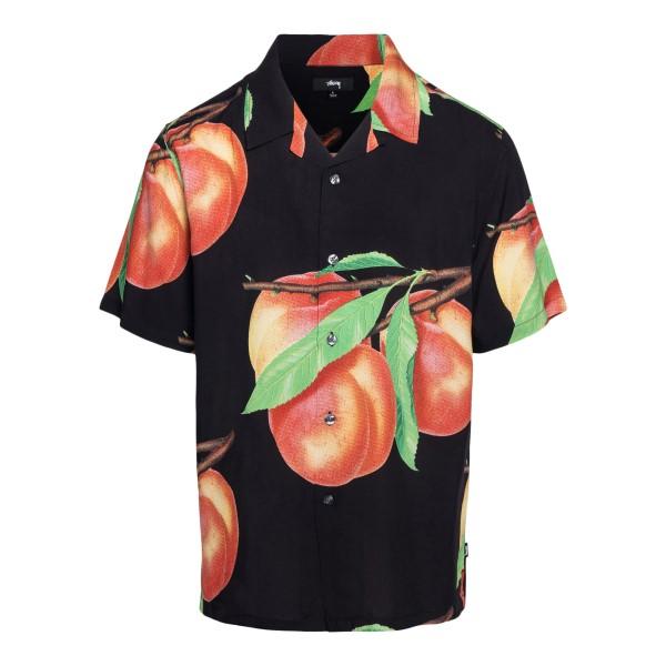 Camicia nera con stampa pesche                                                                                                                        Stussy 1110159 retro