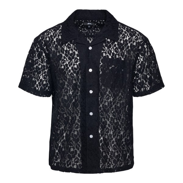 Black lace shirt with short sleeves                                                                                                                   Stussy 1110178 front