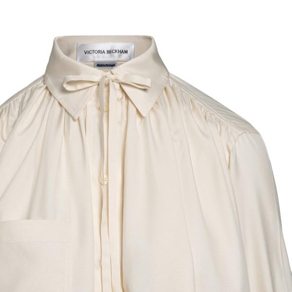 White blouse with lavallière collar                                                                                                                    VICTORIA BECKHAM