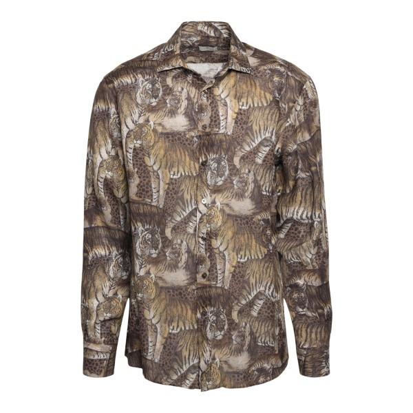 Camicia marrone con stampa animalier                                                                                                                  Etro 16376 fronte