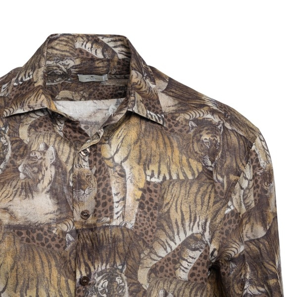 Brown shirt with animal print                                                                                                                          ETRO