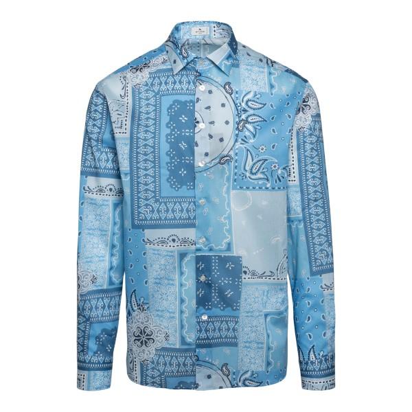 Patchwork-style blue shirt                                                                                                                            Etro 1K094 front