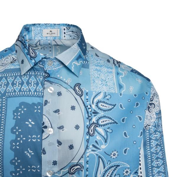 Patchwork-style blue shirt                                                                                                                             ETRO