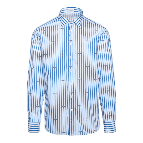 White striped shirt with totem print                                                                                                                  Etro 1K094 front