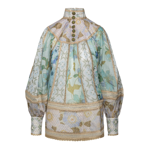 Green and beige shirt with gold details                                                                                                               Zimmermann 2037TRHY back