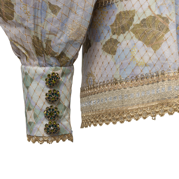 Green and beige shirt with gold details                                                                                                                ZIMMERMANN