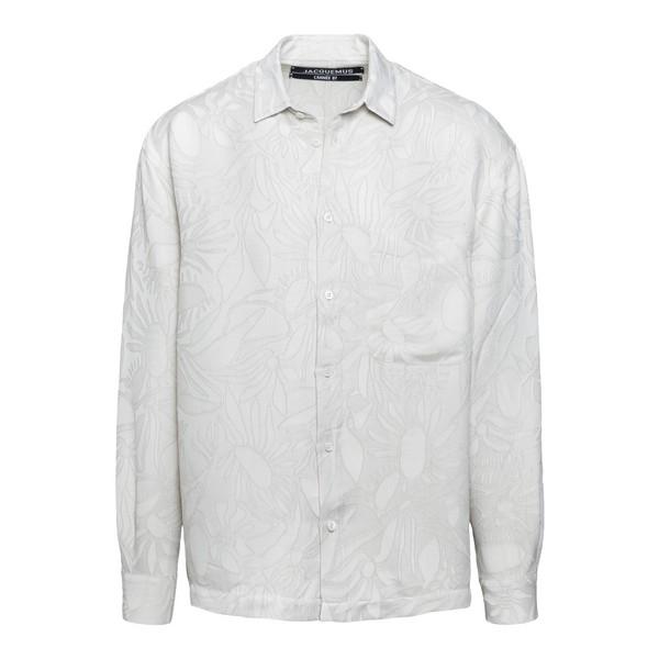 Camicia bianca con motivo floreale                                                                                                                    Jacquemus 206SH02 fronte