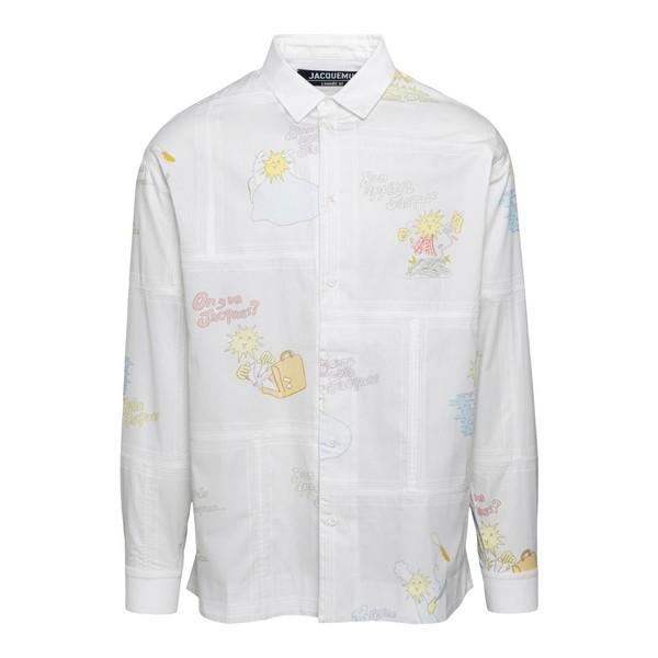 White printed shirt                                                                                                                                   Jacquemus 206SH04 front