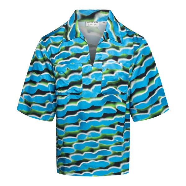 Camicia leggera azzurra a fantasia                                                                                                                    Dries Van Noten 20708 retro