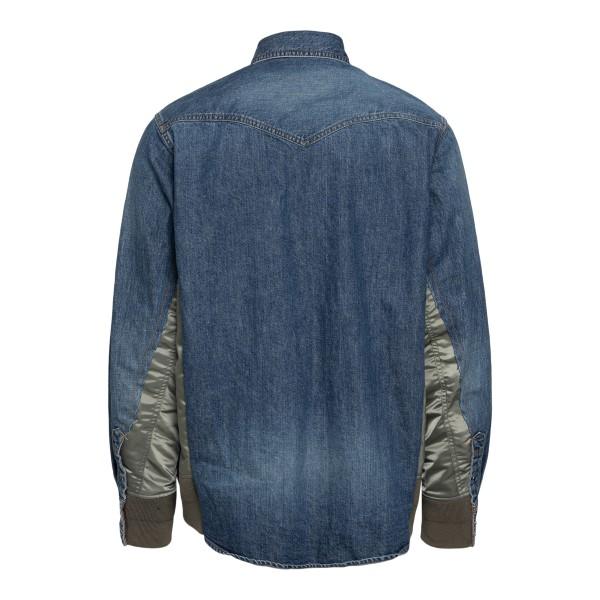 Camicia blu con interno verde lucido                                                                                                                   SACAI                                              SACAI