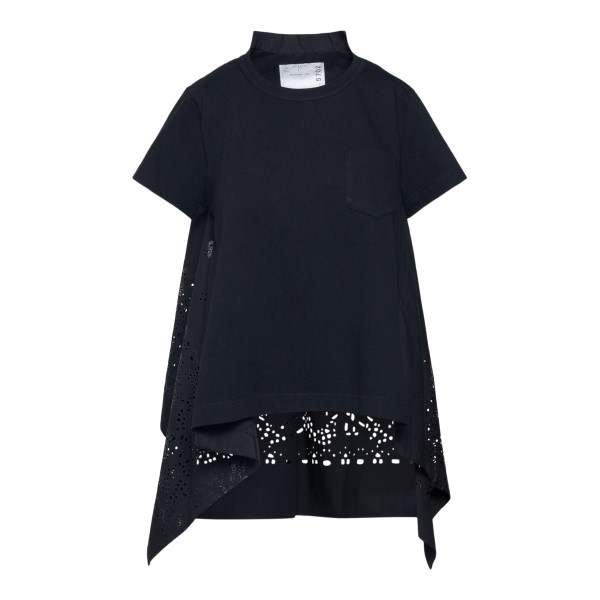 Black T-shirt with perforated back                                                                                                                    Sacai 2105702 back