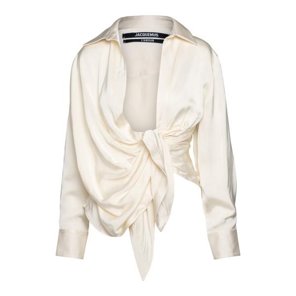 Camicia bianca con arricciature                                                                                                                       Jacquemus 211SH02 retro
