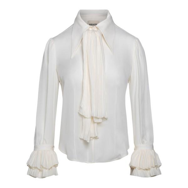 Blusa bianca semitrasparente con fiocco                                                                                                               Khaite 2159314 retro