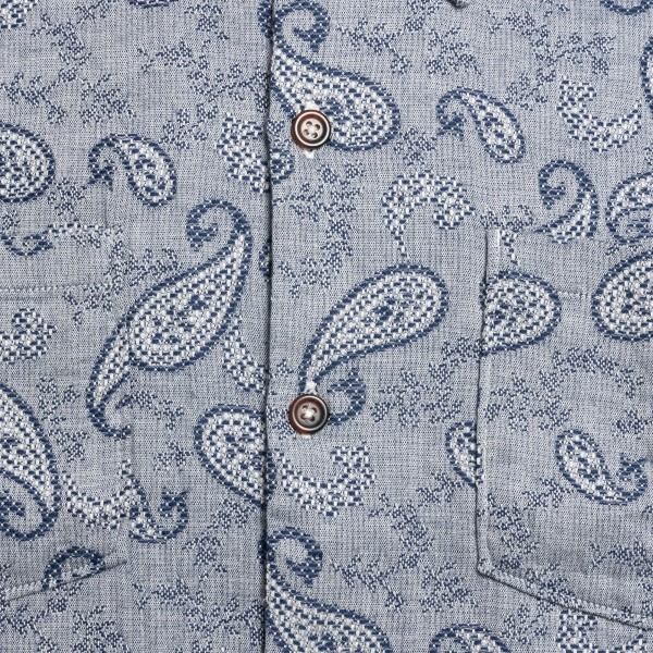Light blue shirt with paisley embroidery                                                                                                               UNIVERSAL WORKS