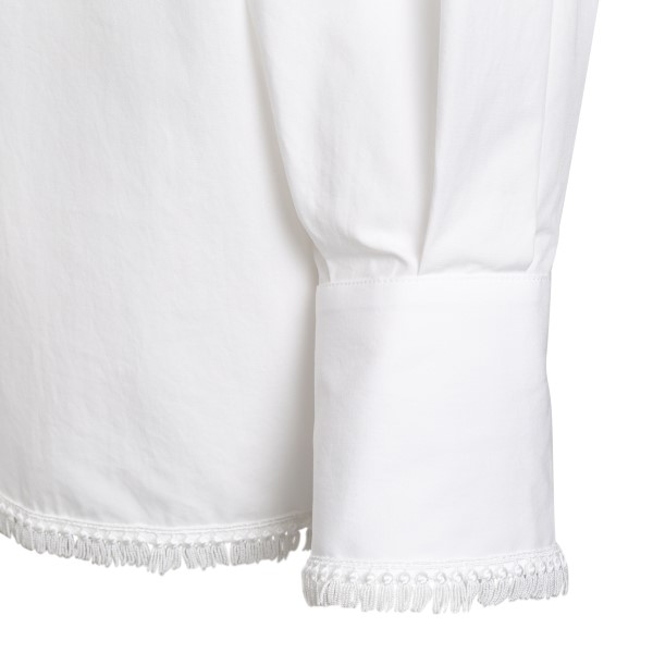 White blouse with frappe                                                                                                                               MSGM