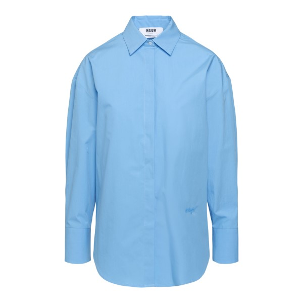 Light blue shirt with opening on the back                                                                                                             Msgm 3042MDE105X back