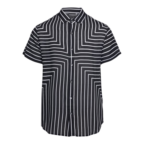 Black shirt with striped pattern                                                                                                                      Emporio Armani 3K1CB9 back