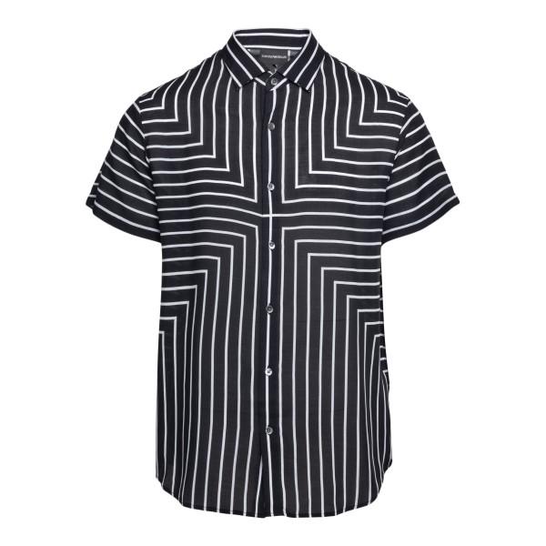 Camicia nera con pattern a righe                                                                                                                      Emporio Armani 3K1CB9 retro