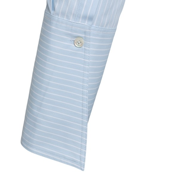 Striped crop shirt in light blue                                                                                                                       EMPORIO ARMANI