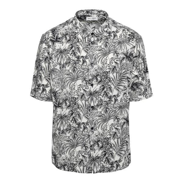 Camicia bianca con stampa grafica                                                                                                                     Saint Laurent 601070 retro