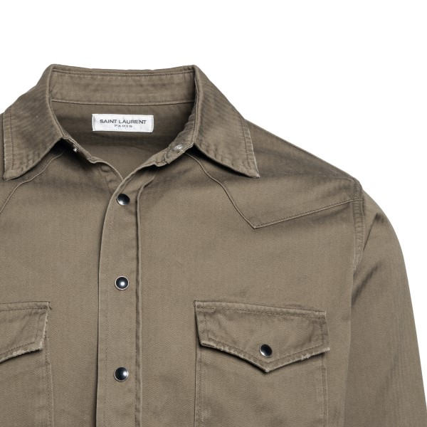 Military green shirt with pockets                                                                                                                      SAINT LAURENT