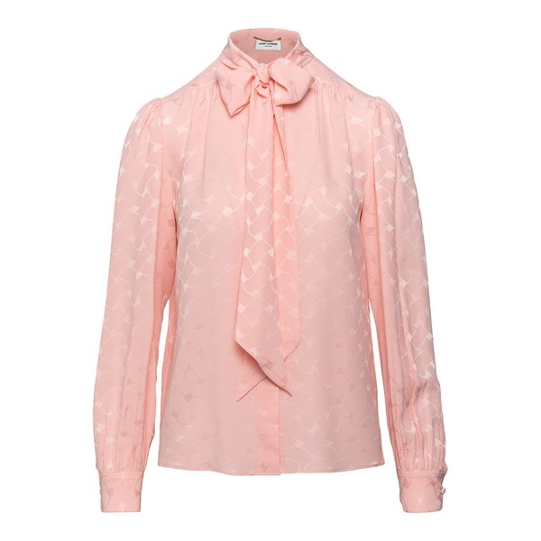 Pink shirt with bow at the neck                                                                                                                       Saint laurent 641593 front