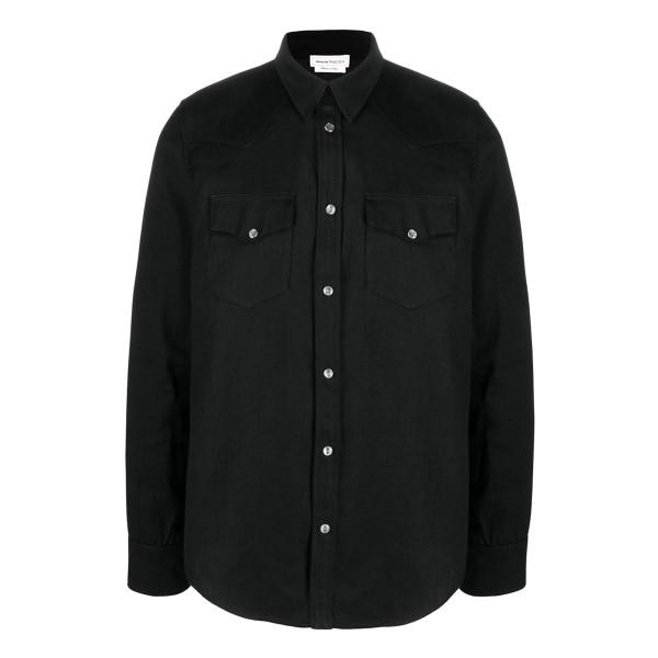 Black denim shirt with logo                                                                                                                            ALEXANDER MCQUEEN
