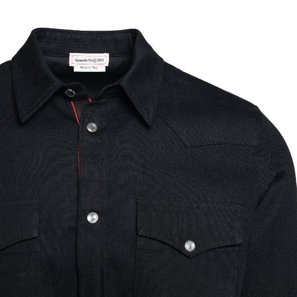 Camicia nera in denim con logo                                                                                                                         ALEXANDER MCQUEEN                                  ALEXANDER MCQUEEN