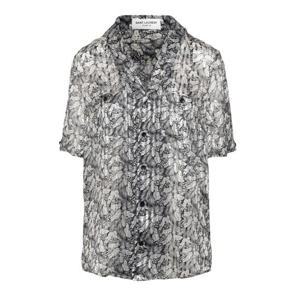 Lightweight pleated floral shirt                                                                                                                      Saint Laurent 646529 back