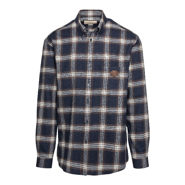 Blue checked shirt with logo patch                                                                                                                    Gucci 648854 front
