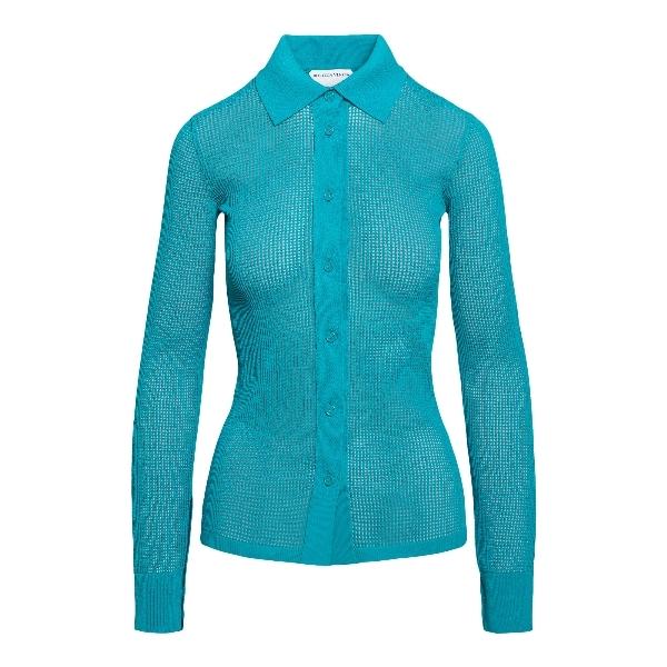 Blue mesh shirt                                                                                                                                       Bottega veneta 648977 front